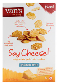 Vans Natural Foods, Crispy Whole Grain Baked Crackers Gluten Free,  Say Cheese - 5 oz -5 PACK