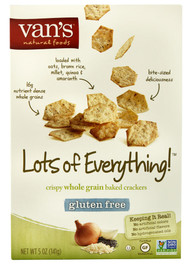 Vans Natural Foods, Crispy Whole Grain Baked Crackers Gluten Free,  Lots of Everything - 5 oz -5 PACK