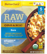 BetterOats, Organic Instant Multigrain Hot Cereal with Flax,  Bare - 11.8 oz -5 PACK