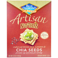 3 PACK of Blue Diamond, Artisan Nut-Thins, Chia Seeds Cracker Snacks, 4.25 oz (120.5 g)