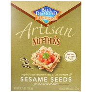 3 PACK of Blue Diamond, Artisan Nut-Thins, Sesame Seeds Cracker Snacks, 4.25 oz (120.5 g)
