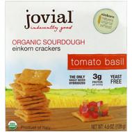 3 PACK OF Jovial, Organic Sourdough Einkorn Crackers, Tomato Basil, 4.5 oz (128 g)