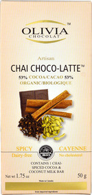 5 PACK of Olivia Chocolat Artisan Chai Choco-Latte Bar 53% Cocoa Organic Spicy Cayenne - 1.75 oz