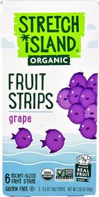5 PACK of Stretch Island Organic Fruit Strips  Grape - 6 Pocket-Sized Fruit Strips