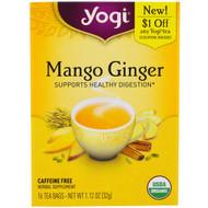 3 PACK of Yogi Tea, Mango Ginger, Caffeine Free , 16 Tea Bags, 1.12 oz (32 g)
