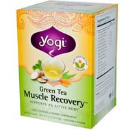 3 PACK of Yogi Tea, Green Tea, Muscle Recovery, 16 Tea Bags, 1.12 oz (32 g)