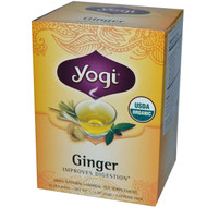 3 PACK of Yogi Tea, Organic Ginger, Caffeine Free, 16 Tea Bags, 1.12 oz (32 g)