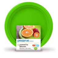 3 PACK of Preserve Reusable Recycled On-The-Go Plastic Plates Small Apple Green -- 10 Dishes