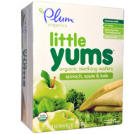 3 PACK of Plum Organics, Little Yums, Organic Teething Wafers, Spinach, Apple & Kale, 6 Packs, 0.5 oz (14.1 g) Each