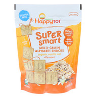 3 PACK OF Happy Family Organics, Happy Tot, Super Smart, Multi-Grain Alphabet Snacks, Organic Vanilla Oat + Flaxseed, 4.4 oz (125 g)