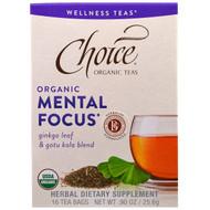 Choice Organic Teas, Wellness Teas, Organic, Mental Focus, 16 Tea Bags, 0.90 oz (25.6 g)