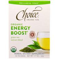 Choice Organic Teas, Wellness Teas, Organic, Energy Boost, 16 Tea Bags, .07 oz (2 g)