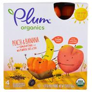 Plum Organics, Smoothie, Peach & Banana, Pumpkin, Oats & Chia, 4 Pack-3.17 oz (90 g) Each