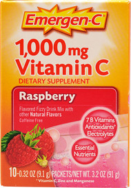 Emergen-C, Vitamin C Fizzy Drink Mix,  Raspberry - 1000 mg - 10 Packets -5 PACK
