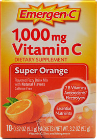 Emergen-C, Vitamin C Fizzy Drink Mix,  Super Orange - 1000 mg - 10 Packets -5 PACK