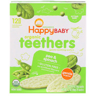 3 PACK OF Happy Family Organics, Organic Gentle Teething Wafers, Sitting Baby, Pea & Spinach, 12 Packs, 0.14 oz (4 g) Each