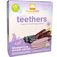 3 PACK of Nurture Inc. (Happy Baby), Gentle Teethers, Organic Teething Wafers, Blueberry & Purple Carrot, 12- (2 Packs), 0.14 oz (4 g) Each