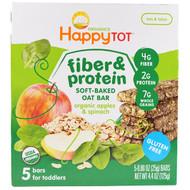3 PACK OF Happy Family Organics, Happytot, Fiber & Protein Soft-Baked Oat Bar, Organic Apples & Spinach, 5 Bars, 0.88 oz (25 g) Each
