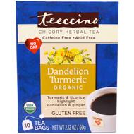 Teeccino, Organic Roasted Herbal Tea, Dandelion Turmeric, Caffeine Free, 10 Tea Bags, 2.12 oz (60 g) (Discontinued Item)