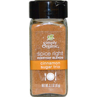 3 PACK of Simply Organic, Organic Spice Right Everyday Blends, Cinnamon Sugar Trio, 3.1 oz (87 g)