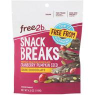 3 PACK OF Free2B, Snack Breaks, Cranberry Pumpkin Seed, Dark Chocolate, 4.2 oz (119 g)