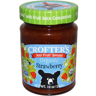 3 PACK of Crofters Organic, Organic, Just Fruit Spread, Strawberry, 10 oz (283 g)