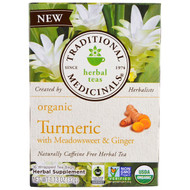 3 PACK OF Traditional Medicinals, Organic Turmeric with Meadowsweet & Ginger , 16 Wrapped Tea Bags, 1.13 oz (32 g)