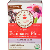 3 PACK of Traditional Medicinals, Seasonal Teas, Organic Echinacea Plus, Naturally Caffeine Free, Elderberry, 16 Wrapped Tea Bags, .85 oz (24 g)