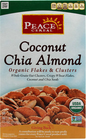Peace Cereal, Organic Flakes & Clusters,  Coconut Chia Almond - 11 oz -5 PACK