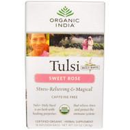 3 PACK of Organic India, Tulsi Holy Basil Tea, Sweet Rose, Caffeine Free, 18 Infusion Bags, 1.01 oz (28.8 g)