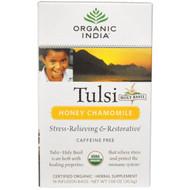3 PACK of Organic India, Tulsi Holy Basil Tea, Honey Chamomile, Caffeine-Free, 18 Infusion Bags, 1.08 oz (30.6 g)