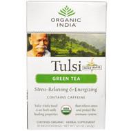 3 PACK of Organic India, Tulsi Holy Basil Tea, Green Tea, 18 Infusion Bags, 1.21 oz (34.2 g)