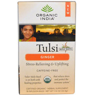 3 PACK of Organic India, Tulsi Holy Basil Tea, Ginger, Caffeine-Free, 18 Infusion Bags, 1.14 oz (32.4 g)