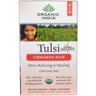 3 PACK of Organic India, Tulsi Holy Basil Tea, Cinnamon Rose, Caffeine-Free, 18 Infusion Bags, 1.14 oz (32.4 g)