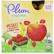 3 PACK OF Plum Organics, Organic Applesauce Mashups with Strawberry & Banana, 4 Pouches, 3.17 oz (90 g) Each