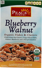 Peace Cereal, Organic Flakes & Clusters,  Blueberry Walnut - 11 oz -5 PACK