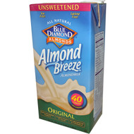Blue Diamond, Almond Breeze 10 pack, Almond Milk, Original, Unsweetened, 64 fl (10 x 1.89 L)
