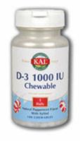 Kal D-3 Chewable Peppermint - 1000 IU - 100 Chewables