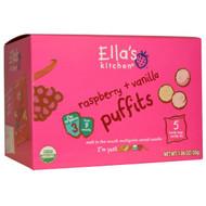 5 PACK of Ellas Kitchen, Raspberry + Vanilla Puffits, 5 Handy Bags, 1.06 oz (6 g) Each