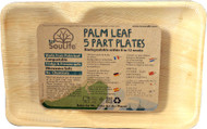 5 PACK of EcoSouLife Palm Leaf Divided Plate 11 x 7 Natural - 5 Dishes