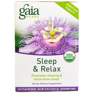 3 PACK of Gaia Herbs, Sleep & Relax, Caffeine-Free, 16 Tea Bags, 0.96 oz (27.2 g)