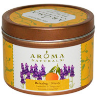 5 PACK of Aroma Naturals, Soy VegePure, Travel Tin Candle, Relaxing, Lavender & Tangerine, 2.8 oz (79.38 g)