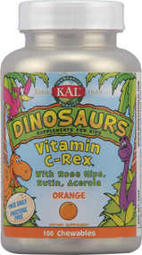 Kal, Dinosaurs Vitamin C-Rex,  Orange - 100 Chewables (5 PACK)