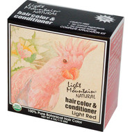 3 PACK of Light Mountain, Organic Natural Hair Color & Conditioner, Light Red, 4 oz (113g)
