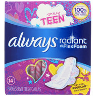 Always, Totally Teen, Radiant Flex Foam with Wings, Regular, 14 Pads