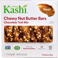 5 PACK of Kashi Chewy Nut Butter Bars Gluten Free Chocolate Trail Mix - 5 Bars