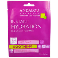 3 PACK of Andalou Naturals, Instant Hydration, Hydro Serum Facial Mask, 1 Single Use Fiber Sheet Mask, .6 fl oz (18 ml)