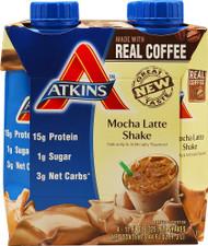 3 PACK of Atkins RTD Shake Mocha Latte -- 4 Shakes