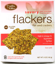 Doctor In The Kitchen, Flackers Flax Seed Crackers,  Savory Garlic-Onion-Basil and Red Chile Pepper - 5 oz (5 PACK)