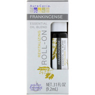 3 PACK of Aura Cacia, Essential Oil Blend, Revitalizing Roll-On, Frankincense, .31 fl oz (9.2 ml)